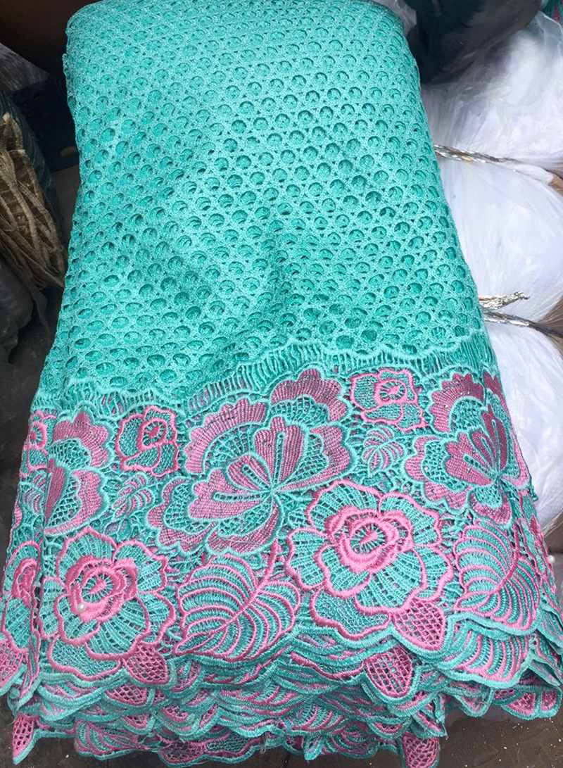 8 colors 5yards pc High quality mint green African big cord lace fabric beautiful guipure lace