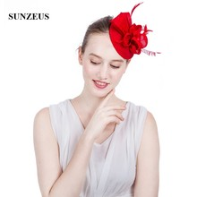 6e372d15 Hot Red Small Wedding Hat 2018 Linen Flowers Feathers Fascinator White  tocados madrina boda SH83(