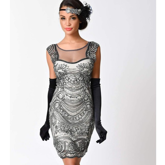 2fd2b72511 Zmvkgsoa Mesh Patchwork Bodycon Vintage Dress Sleeveless Sexy Club Wear  Robe Femme 1920s Gatsby Flapper Sequin Dresses Y3004