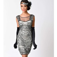 Zmvkgsoa Mesh Patchwork Bodycon Vintage Dress Sleeveless Sexy Club Wear Robe Femme 1920s Gatsby Flapper Sequin Dresses Y3004