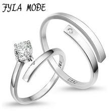 Fyla Mode 1 Pair=2pcs 925 Sterling Silver Ring Jewelry Engagement Zircon Wedding Lovers Couple Rings for Women Men YH005 цена в Москве и Питере