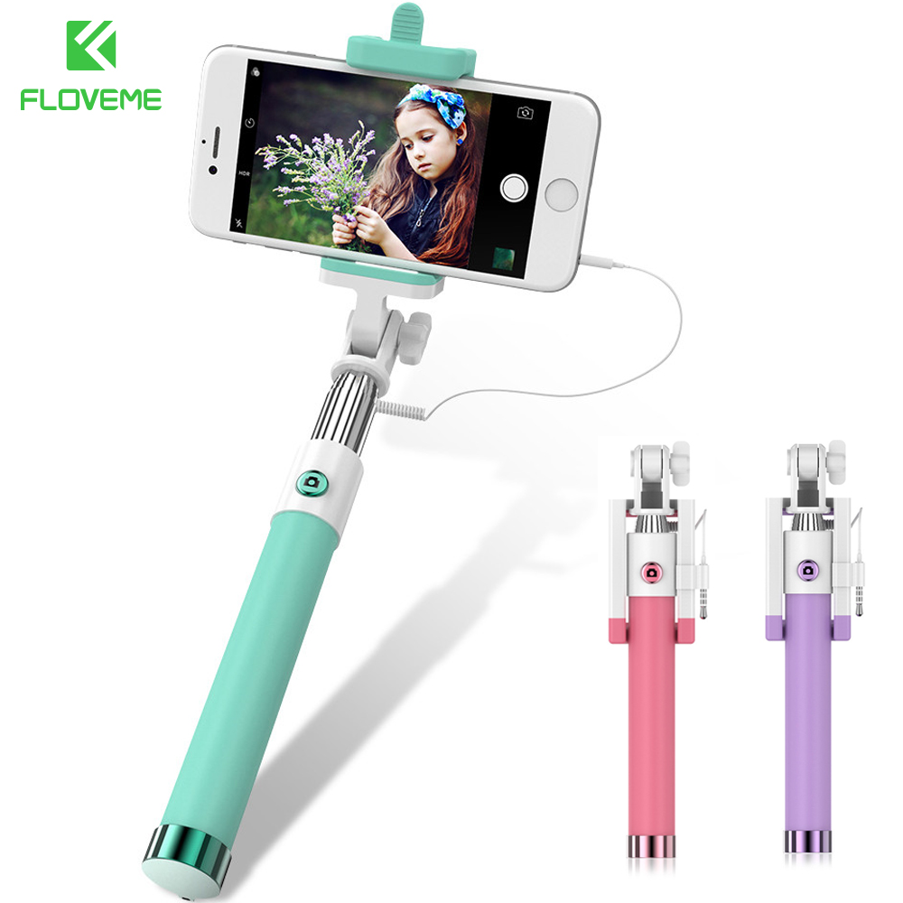 FLOVEME Wired Selfie Stick Handheld Monopod Universal Smartphone Holder For iPhone 7 6 5 for Android Samsung Xiaomi Selfiestick floveme tripod selfie stick wireless bluetooth monopod for iphone samsung xiaomi remote control handheld smartphone selfie stick