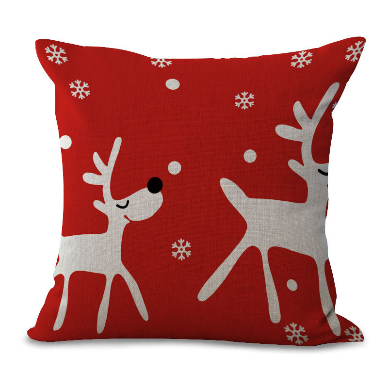Decorative Linen Pillow Covers : Christmas Style Cotton Linen Cushion Cover Home Decorative Pillow Cover