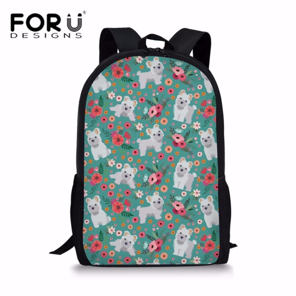 FORUDESIGNS Students School Bags for Kids Cute Maltese Florals Printing Shoulder Backpack Children Large Capacity Bookbag Bolsa