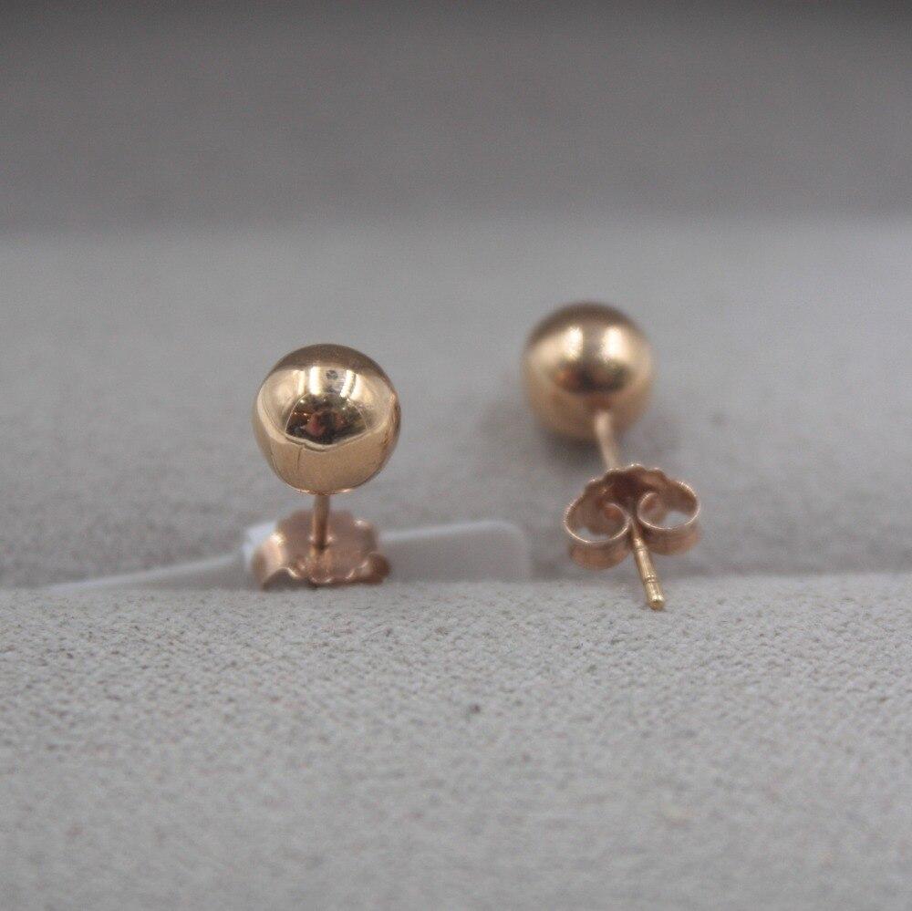 Pur 18 K or Rose boucles d'oreilles personnalisé petite boule lisse mignon boucles d'oreilles 1.3-1.5g tous les jours bijoux petite amie meilleur cadeau - 3