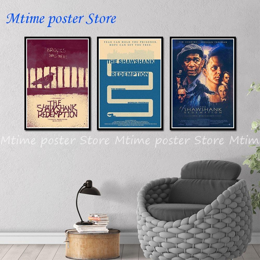 Побег из шоушенка плакат классический старой постер фильмов в стиле винтаж ретро ностальгия крафт-бумага наклейки на стену дома 42*30 см