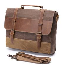 Briefcases Handbags for Men High Quality Canvas Genuine Crazy Cowhide Shoulder Bag Business Laptop Messenger Bags