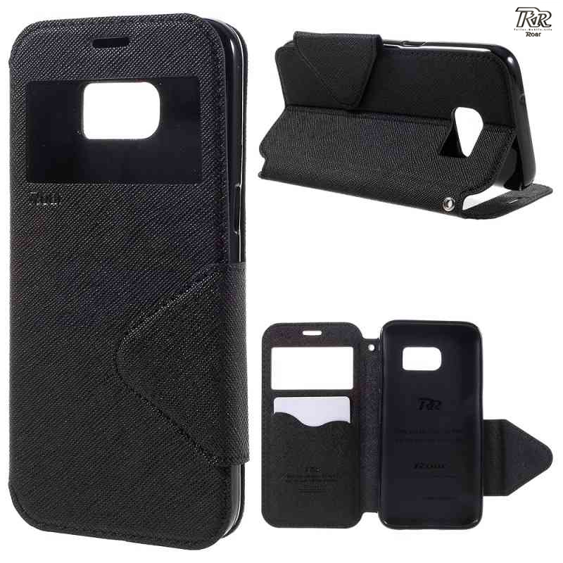 For Samsung Galaxy S8 S3 S4 S5 S6 S7 NOTE 2 3 4 Original Roar Korea Two-color Window View Leather Magnetic case Cover With Stand ...