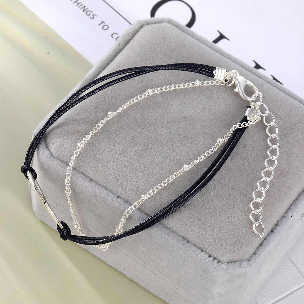 Proste srebrny łańcuszek na kostkę bez krawędzi koralik urok bransoletki na nogę moda lato plaża kostki biżuteria na stopy bransoletka na kostkę dla kobiet łańcuch nogi