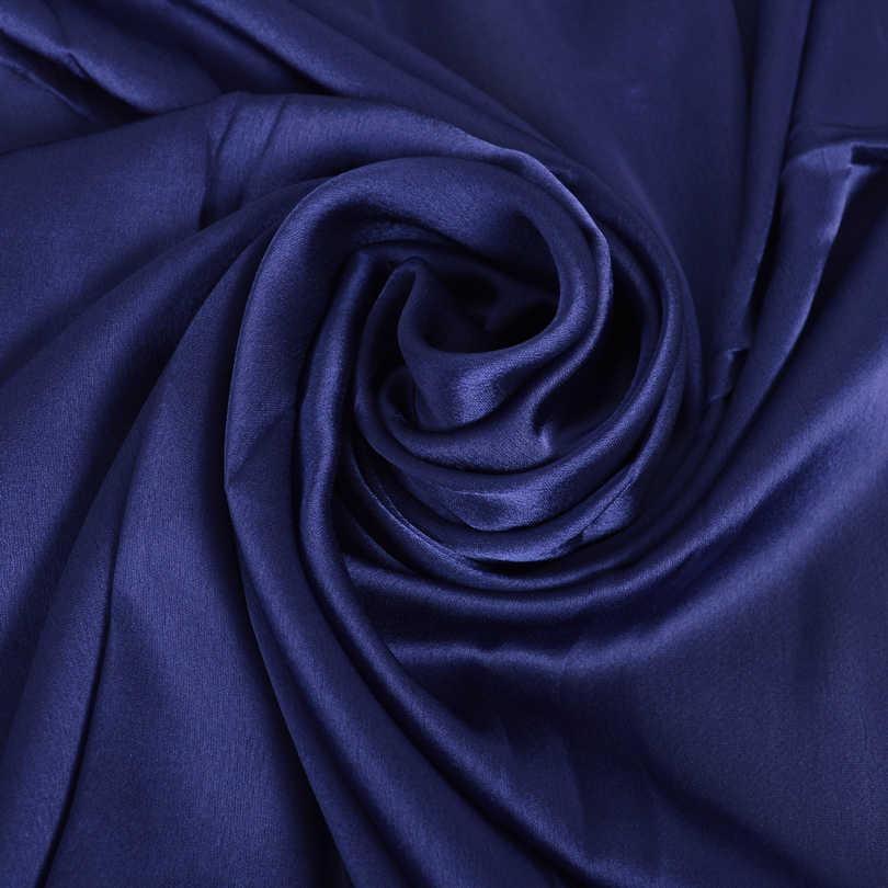 [BYSIFA] signore Plain Sciarpa Scialle di Seta Blu Navy Nuova Primavera Autunno Elegante Raso Solido Lunghe Sciarpe Donne Estate Spiaggia Cover-ups