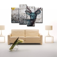 Bamboo Basket Weaving Blue Deer Black Birds Abstract Wall Art HD Print Cartoon Canvas Painting for Kid Bedroom Office Decor