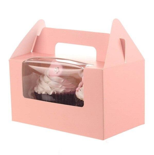 12Pcs/Lot Two Case White Pink Blue Kraft Paper Cupcake Box Cake Box With Clean PVC Window Wedding Party Favor Box Cake Packaging