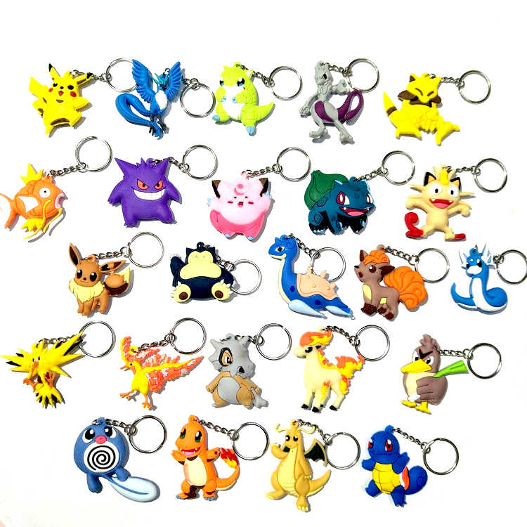 Chaveiro de carro de pokemon, anel unissex, anime, figuras de ação, brinquedo, chaveiro, modelo com celular chaveiro de bolsa fofo