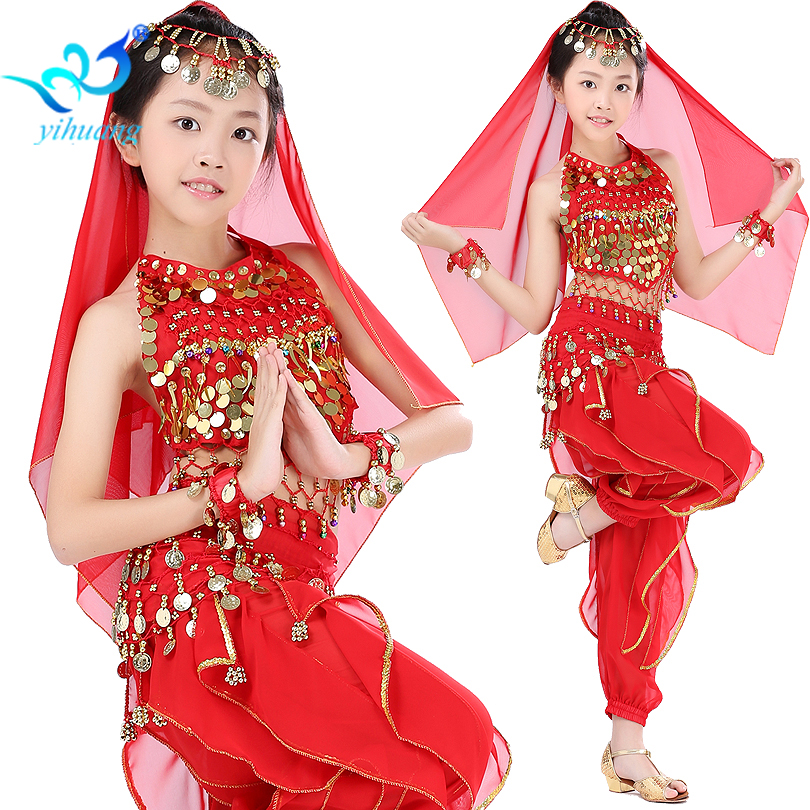 Girls Belly Dancing Costume Set Kids Indian Dance Performance Outfits Children Stage Competition Outfits Size S-XL