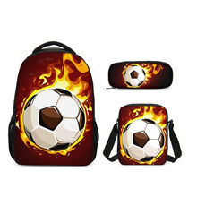 2019 Children Large School Bag Set Fire Soccer Printing Primary Schoolbag Kids 3pcs Backpack Teen Girls Casual Book Bags Satchel(China)
