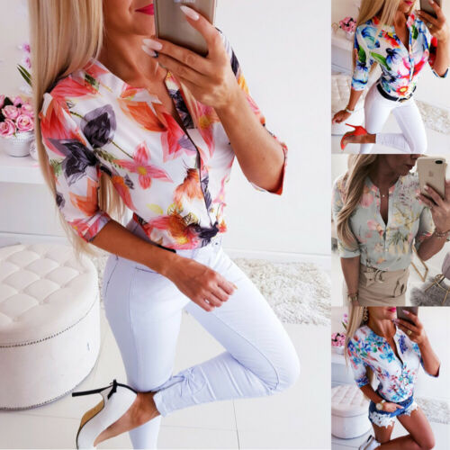 Summer Women 3/4 Sleeve Floral Loose Blouses Tops Woman Female Shirt OL Ladies Casual Button Blouse Streetwear 2019 New Arrival(China)