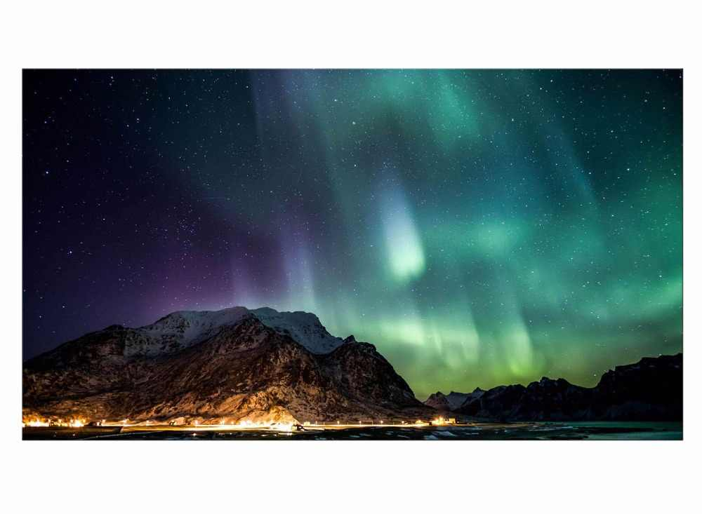 1 Panel Northern Light Canvas Painting Green Aurora Canvas Picture Modern HD Print Wall Art For Living Room Decor Framed