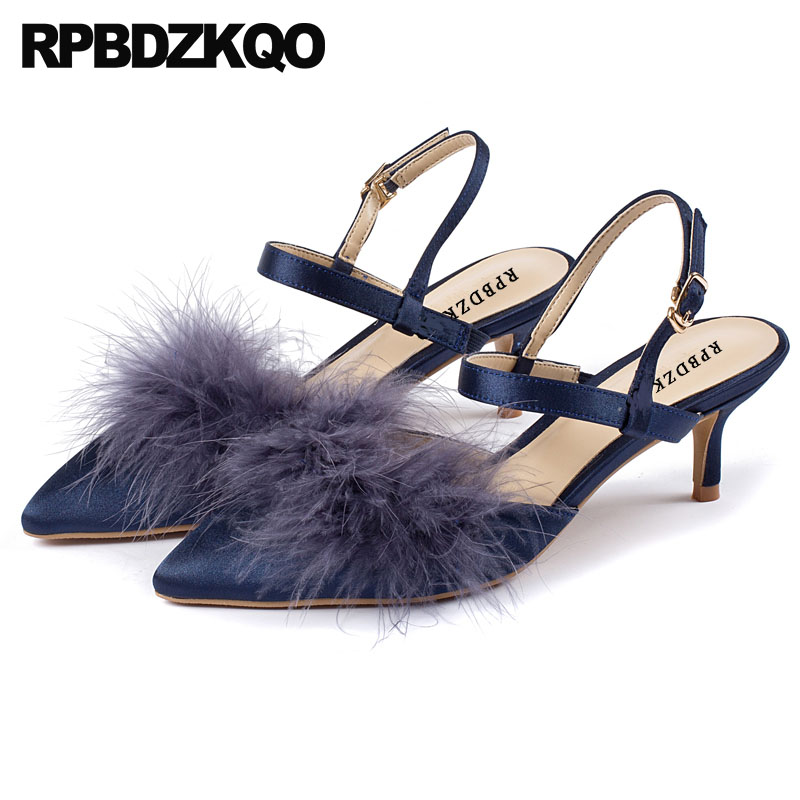 Pointed Toe Size 33 Dress Brand Satin Slingback Medium Heels Sandals Prom Shoes 2018 Ladies Party Fur Kitten Evening Designer pointed toe slip on high heels strappy 2017 chic size 4 34 black ladies kitten sandals medium fashion low summer shoes slingback page 7