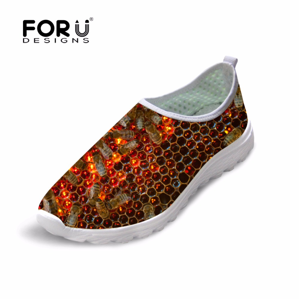 Mens Shoes Breathable Casual Shoes Animal Printing Male Mesh Shoes Leisure Walking Bee Pattern Flats Autumn Summer Loafers Shoes