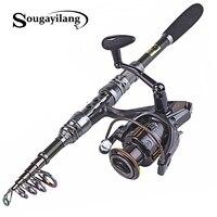 Sougayilang 1.8 3.0m Carbon Telescopic Carp Fishing Rod Sets and 14BB Metal Spoon Reel Lure Spinning Fishing Reel Pesca