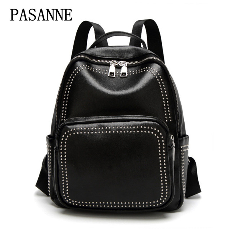 New Women Backpack Schoolbag 2017 Casul Large Capacity Female Leather Woman Shoulder Bags Girl Student Lady Rivet Backpacks