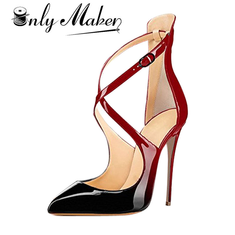 Onlymaker Women's Pumps Pointed Toe Sandals Shoes Cross Strap 12cm Thin High Heels Summer Stilettos Red Shoes Plus Size 14 women pointed toe buckle thin high heels red bottom sandals shoes t strap print leather plus size lady sandals 42 51 sxq0710