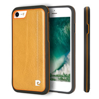 Pierre Cardin Luxury Litchi Pattern Handmade Stitched Genuine Leather Case Back Cover For Apple iPhone 8 Case 8 Plus Phone Case