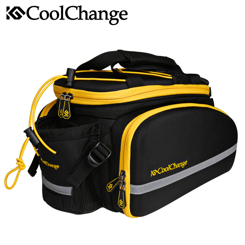Coolchange Multi-Function Bicycle Rear Seat Trunk Bag Bike Luggage Package Rear Carrier Pannier EVA Shell With Rain Cover
