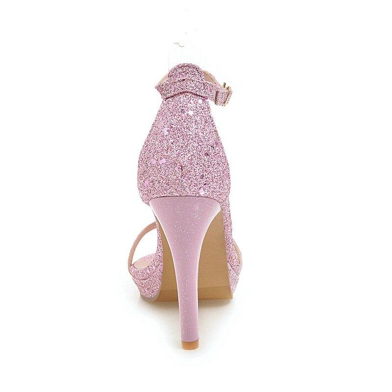 Paillettes 10 Femme Or Talon silver Chaussures D'été 2018 Taille Dames Sandales Big Haute Sexy 33 Femmes 5 pink Dagnino 43 Gold Plus Cm Argent Extrême dTRAnna