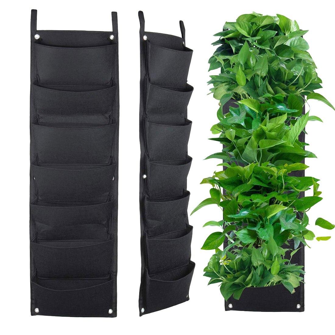 3/7 Pockets Black Felt Fabric Grow Bag Pots Vegetable Plant Wall Hanging Garden Vertical Gardening