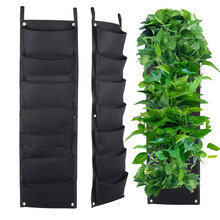 3/7 Pockets Black Felt Fabric Grow Bag Pots Vegetable Plant Wall Hanging Garden Vertical Gardening