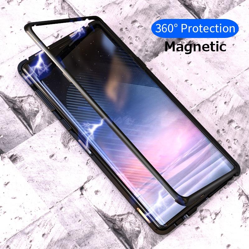 Adsorção magnético Do Caso Da Aleta para Samsung Galaxy Nota 9 S8 S9 Além de Vidro Temperado Tampa Traseira Luxo Metal Bumpers Difícil caso