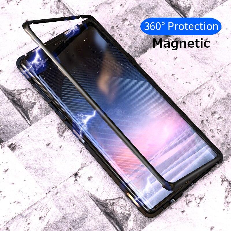 Magnetische Adsorption Flip Fall für Samsung Galaxy Note 9 S8 S9 Plus Gehärtetem Glas Zurück Abdeckung Luxus Metall Stoßstangen Hard fall
