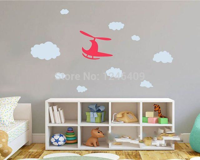 Us 8 99 Aliexpress Lovely Baby Nursery Wall Sticker Diy Airplane Removable Decal Vinyl Helicopter Clouds For Kids Room