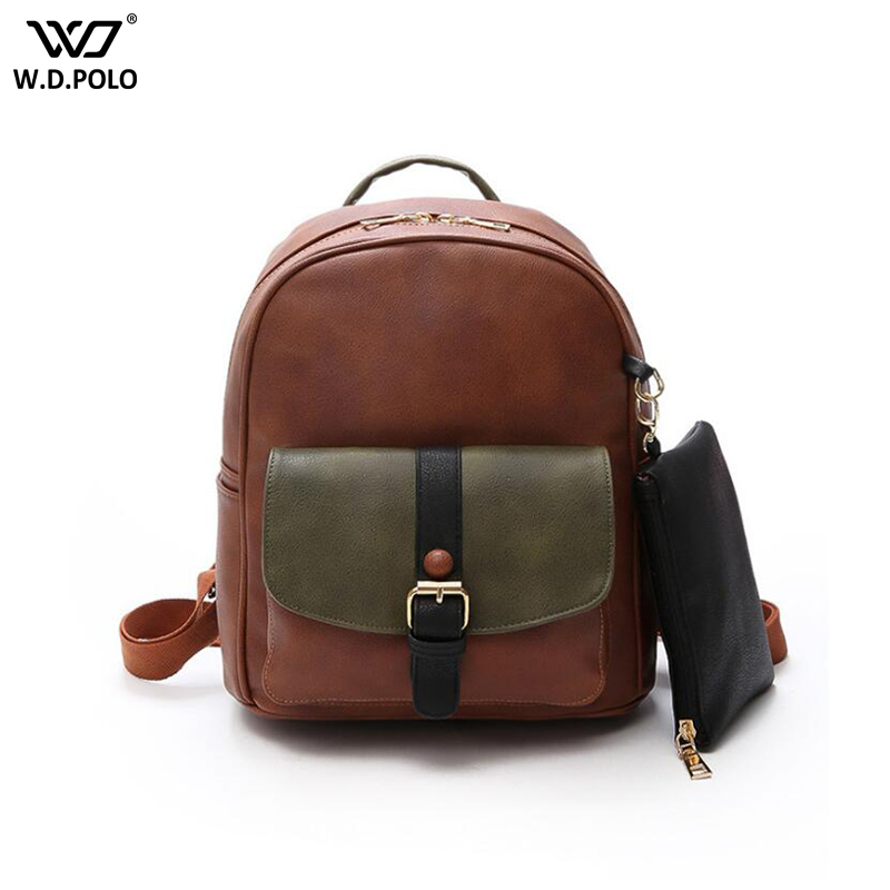 WDPOLO New Pu Leather Lady Shoulder Bags Chic Vintage Women Backpack With Purse Trendy Patchwork School Book Bag C609