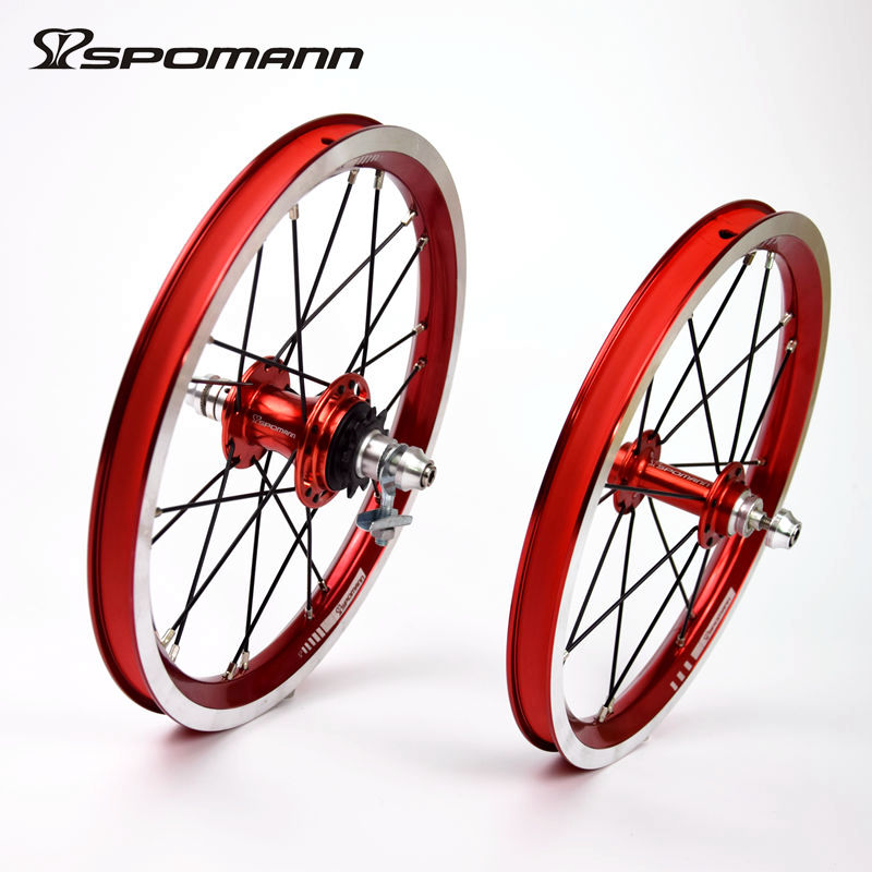 цены Spomann Ultralight Bicycle Wheelset 14 Inch Single speeds 9T BMX Wheels Folding Bike 4 Bearings Wheel V Brake Bicycle Wheelsets