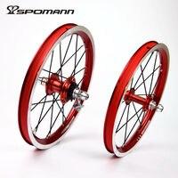 Spomann Ultralight Bicycle Wheelset 14 Inch Single speeds 9T BMX Wheels Folding Bike 4 Bearings Wheel V Brake Bicycle Wheelsets
