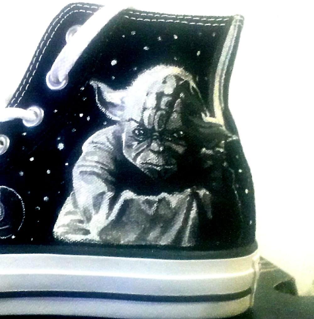 5d792b262909b5 Star Wars Yoda Vador Hand Painted canvas shoes Hi Tops Black US Men ...