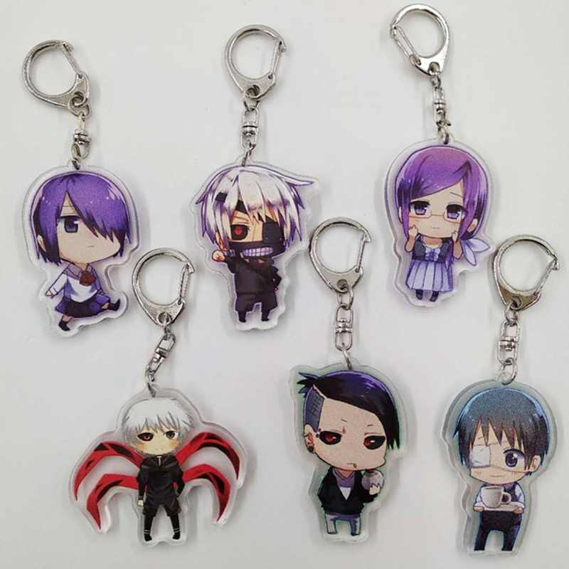 2018 Tokyo Ghoul Keychain Double Sided Acrylic Key Chain Pendant Anime Accessories Cartoon Key Ring Fashion