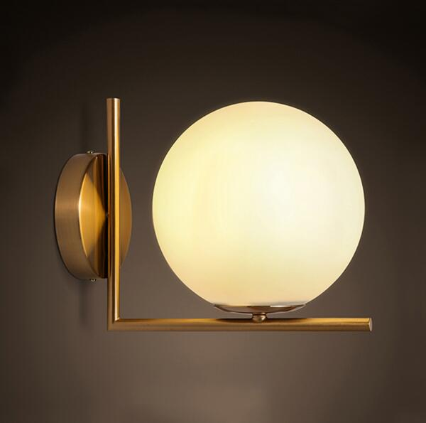 Modern minimalist led wall lamp Nordic postmodern bedroom bedside wall lamp glass lamp cover living room spherical wall lamp