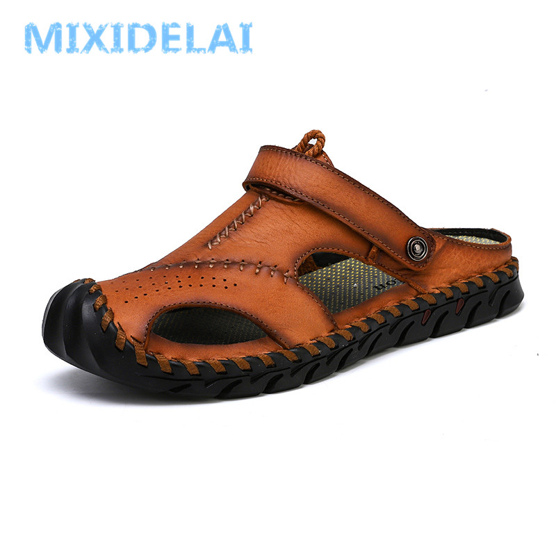 MIXIDELAI New Big Size 38-46 Genuine Leather Men Sandals Summer Quality Beach Slippers Casual Sneakers Outdoor Roman Beach Shoes