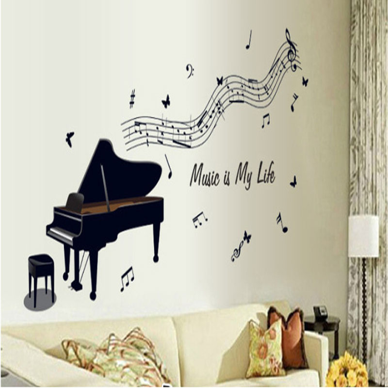 Aliexpress.com : Buy 3D Piano Black Rhythm Music Note Wall Stickers  Removable Vinyl Wall Decal Music Room Decorations Wall Art Decals Free  Shipping From ...