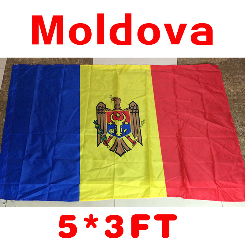 Moldovas karoga poliestera karogs 5 * 3 FT Moldovas karogs 150 * 90 CM Karogs liels izmērs labas kvalitātes