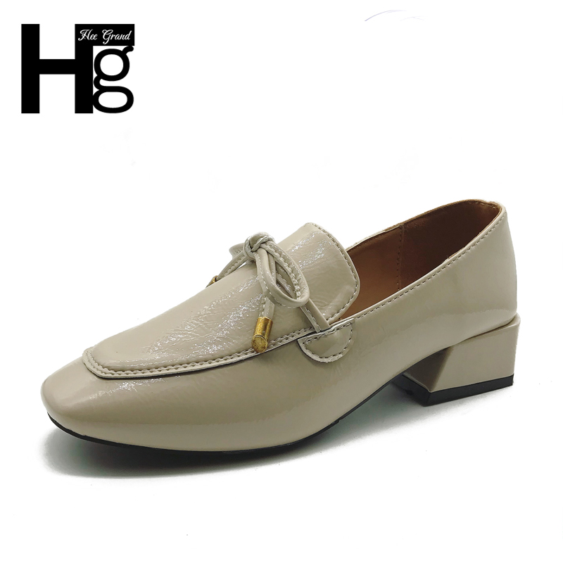 HEE GRAND 2018 New Arrival Fashion Women Shoes Slip On Square Toe PU Leather Pumps Spring Causal Bowtie Shoes 3 Colors XWD6284