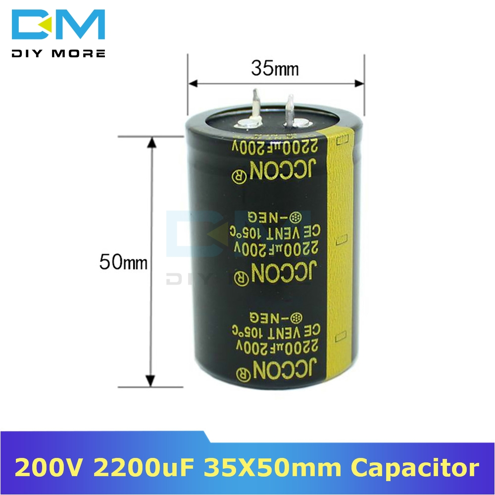200V 2200uF 35X50mm 35X50 Aluminum Electrolytic Capacitor High Frequency Low Impedance Through Hole Capacitor 35*50mm Diymore