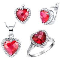Jewelry set for women fashion Austrian crystal ocean heart red heart series jewelry silver plated necklaces rings earrings