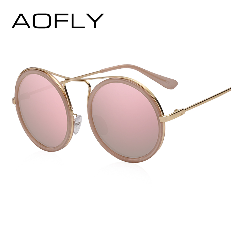 AOFLY Vintage gafas de sol redondas Mujeres Gafas de sol reflectantes Mujer Mujer Shades Diseñador de la marca lunette de soleil UV400 AF79136