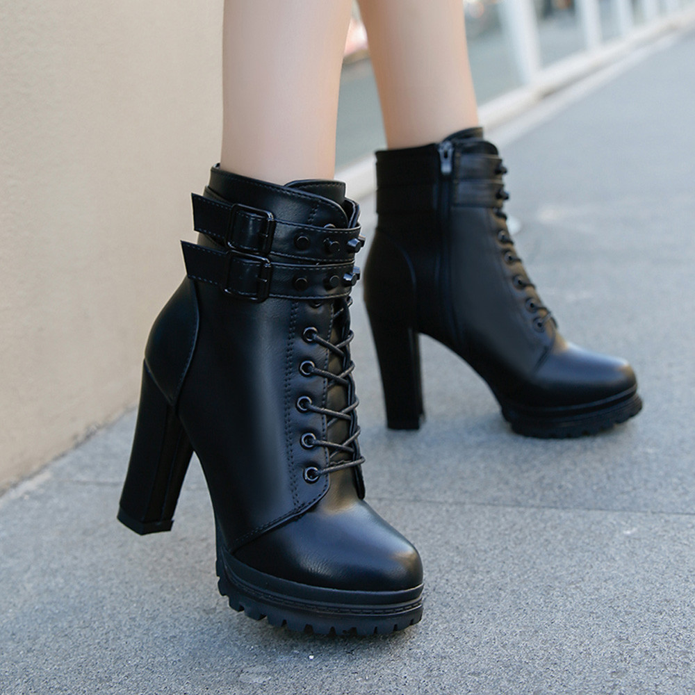 YOUYEDIAN Women Boots 2018 Ankle Boots For Women Lace Up Square Heel Winter Shoes Casual Super High Heel Boots Botas Mujer 14