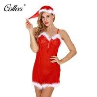 COLLEER Vendita Calda Rosso Sexy all'ingrosso Costume Di Natale cappello + Sleepwear Cosplay Uniforme Biancheria Sexy di Alta Qualità Set