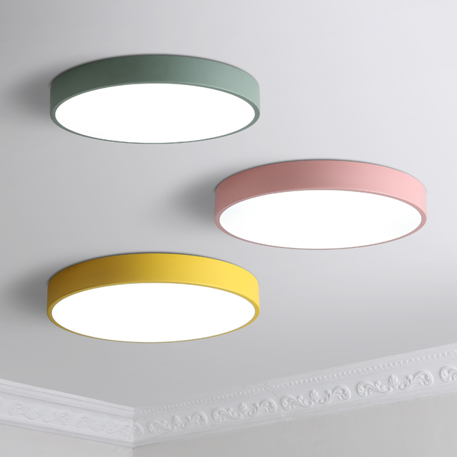 Modern Ceiling Lights Round Led Lamp Macaron Light Kitchen Fixtures Living Room Luminaria Kids